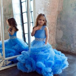 Wholesale Cute Babies Yellow Dress - Ice Blue Ruffles Girls Pageant Dresses With Sash Beads Crystals Baby Flower Girls Dresses for Weddings Tulle Cute Kids Birthday Dress