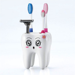 Wholesale Teeth Style Toothbrush Holder - New Home Toothbrush Holder Bracket Container For Bathroom Novelty 4 Hole Tooth Style Home decor Brand Free shipping