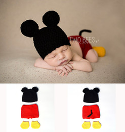 Wholesale Knit Cartoon Beanies - Crochet Baby Boy Mickey Costume Knitted Newborn Baby Cartoon Outfits Baby Crochet Hat Beanie Infant Halloween Costume 2017 BP009