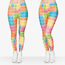 Wholesale Patterns Women Leggings - Women Leggings Toy Bricks 3D Graphic Print Girl Skinny Stretchy Yoga Comfortable Colorful Pattern Sport Pencil Pants Trousers New (J29724)