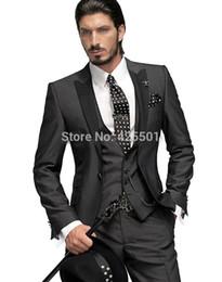 Wholesale Tuxedo Styles Morning - Wholesale- 2015 New Design Morning Style Fashion Groom Tuxedos Groomsmen Men's Wedding Suits Best man Suits (Jacket+Pants+Vest+Tie)