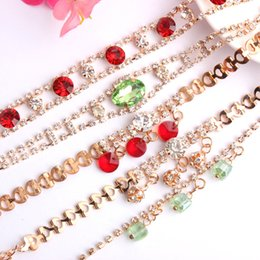 Wholesale Candy Anklets - Fashion New Crystal Bracelets Anklets For Women Lady Girls Korean Candy Rhinestones Gemstone Bangle Anklet Gift