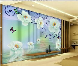 Wholesale flower wallpapers high quality - High Quality Customize size Modern Purple brilliant water flower 3D stereo TV wall decoration painting