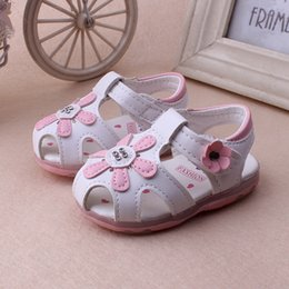 Wholesale Wholesale Korean Sandals - New arrival Korean style summer baby girl toddler shoes flower pattern lights sandals comfortable breathable girl shoes 1T-3T 10pairs lot