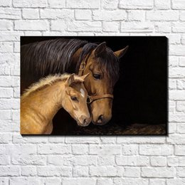 Wholesale Custom Poster Prints - European Modern Abstract Brown Horse and Foal Oil Painting Poster Printed on Canvas Poster Bar Pub Home Canvas Art Decor Fashion Custom