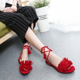 Wholesale Lace Sandals Flat - Wholesale-Latest 2016 Women Sandals woman Summer Office Low Square Heel Casual shoes female Tassel Cross strap Green sandal Shoes k421