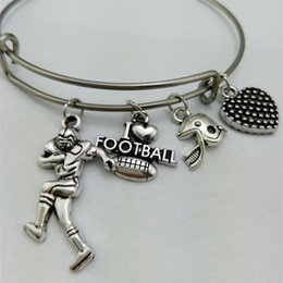 Wholesale Mom Silver Bangle Bracelet - I Love Football Basketball Baseball Softball Mom & Sticks Sport Charm Stainless Steel Expandable Wire Bangle Love Diy Jewelry