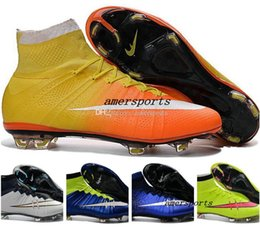 Wholesale Girls Youth Boots - 2016 Youth Children Soccer Cleats Kids Boys Mercurial Superfly CR7 FG Football Boots Mens High Ankle Soccer Shoes Women Girls Outdoor Cleats