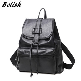 Wholesale Ladies Larger Size - Bolish PU Leather Women Female Backpack Preppy Style Girls School Bag Larger Size Travel Rucksack Black Color Ladies Daypack