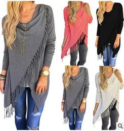 Wholesale Dress Cardigan For Women - Europe Long Sleeve T-shirt Sexy Tank Tops for Women T shirts Tassel Women Clothes Dresses for Womens 2018 New Hot Women's Fringe Cardigan