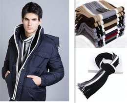 Wholesale Knit Scarves Cheap - New winter man cheap scarf Han edition tide knitting scarf warm fashion color matching stripes tassel men