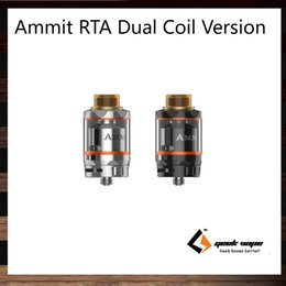 Wholesale GeekVape Ammit RTA Dual Coil Version ml ml Tank Capacity Option mm Postless Build Deck Four Path Airflow from Bottom Side Original