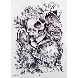 Wholesale Temporary Tattoos Skulls - Wholesale- Arm Sticker Fake Arm Sleeve Tattoo - Black 3D Death Skull Shoulder Tattoos Shoulder Tattoos Temporary Waterproof Man Tattoo