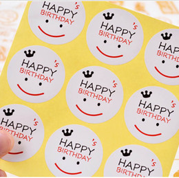 Wholesale Sticker Happy Birthdays - Happy Birthday gift wrapping Baking Package stickers Kraft paper sticker baking package sticker gift sealing labels DIY Cake box 100pcs