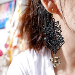 Wholesale Black Lace Earrings - 12 pairs Lot Hot Sale Womens Brinco Earring New Style Lace Earrings Metal Carrier Pigeon Charm Dangle and Chandelier Jewelry 1007