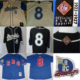 Wholesale Giant Apparel - Mens 8 Brooklyn Royal Giants NLBM Jersey Apparel Negro League Jersey 100% Stitched Embroidery Throwback Baseball Jerseys Black Blue White