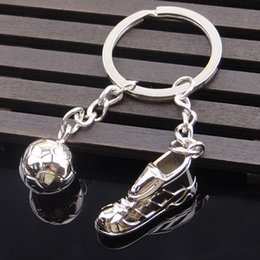 Wholesale World Wholesale Shoes - Creative Metal Soccer Shoes Keychain World Cup Soccer Team Small Gift Gift Car Key Pendant Wholesale