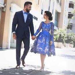 Wholesale halter prom homecoming dresses - Saidmhamad Royal Blue Short Prom Dress Vintage Lace Applique Long Sleeve A-Line Short Evening Dress Blue Homecoming Dresses