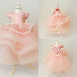 Wholesale Children Feathered Dresses - Cute Tiered Tulle Graduation Gown Children Short Sleeves Appliqued Toddler Pageant Prom Dresses Custom Made Bowknot Flower Girl Dress