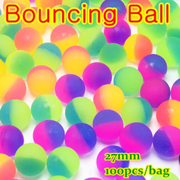 Wholesale Mini Yoyo - 1000pcs lot Rainbow Colorful Bouncing Ball floating in water child elastic rubber ball pinball bouncy toys for kid bathing capsule toys yoyo