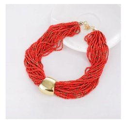Wholesale Rice Bead Necklaces - European Exaggerated Bib Statement Necklace Bohemia Multi-layer Temperament Rice Beads Necklace Resin Fashion Sweater chain Accessories