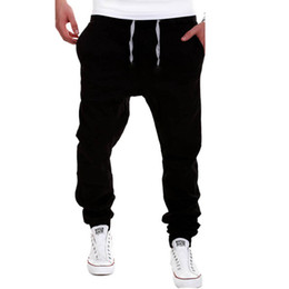 Wholesale harem pants trend - Wholesale- New Trend Drawstring Pants Men Solid Color Harem Pant Joggers Sweatpants Casual Cotton Pantalon Homme