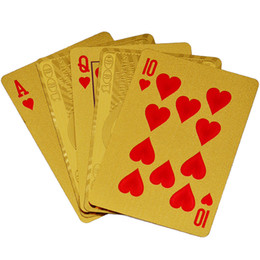 Wholesale Wholesale Card Tables - 24K Gold-Foil Plated Playing Cards Poker Table Games Arts Gift Durable Waterproof Plastic Playing Cards $100 Gold Foil Golden Poker Cards