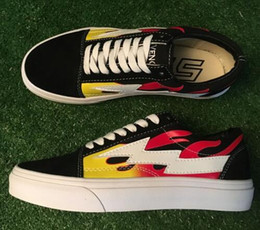 Wholesale Shoes Men Old - Men Retro Lightning Revenge X Storm kanye Old Skool Skate Shoes,Women Fashion Canvas Sneakers 36-44 Flames Yellow Green Red Black Blue