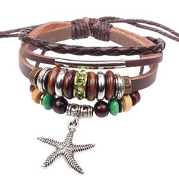 Wholesale Mens Multi Strand Leather Bracelets - Unisex Mens Jewelry Gift Punk Real Genuine Leather Brown Multi Layers Beads Star Adjustable Wristband Charm Bracelets Bangles
