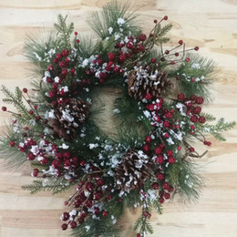 """Wholesale Christmas Pine Wreath - 22"""" Frosted Pine Needles, Pinecone, Red Berry Christmas Wreath"""