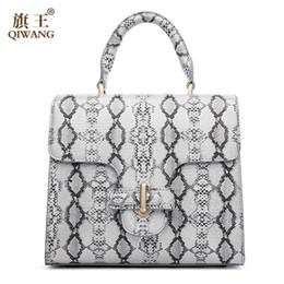Wholesale Pythons Snakes - Wholesale- Qiwang Women Python Bag Cow Snake Skin Cowhide Leather Tote Bag Wholesale Summer Cross Handbag Luxury Brand Designer Bag