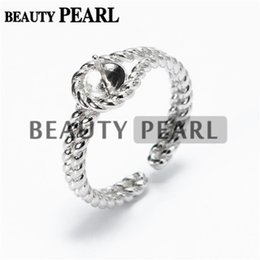Wholesale Bulk Bands - Bulk of 3 Pieces Twisted Band Ring Findings 925 Sterling Silver DIY Jewellery Making Pearl Mount