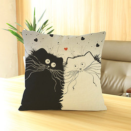 Wholesale Funny Pillow Cases - Wholesale- New Vintage Cartoon Cat Linen Pillow Case Funny Cate Design Pillow Cover Home Hotel Pillowcase