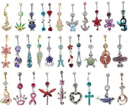 Wholesale Ring Navel Gems - Hot Sale Gem mixed different designs Belly Button Rings 316L Stainless Steel Navel Piercing Dangle Belly Rings Body Jewelry Gift 8pcs