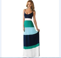 Wholesale Wholesale Cotton Maxi Skirts - Europe and the United States foreign trade harness dress skirt large put color striped dress woman sexy two color into the striped skirt