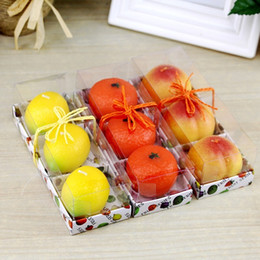 Wholesale birthday apple - Handmade Scented Candles Creative Paraffin Wax Fragrant Bougie Fruit Apple Lemon Orange Peach Strawberry Shape Candle Hot Sale 4 2bs BC