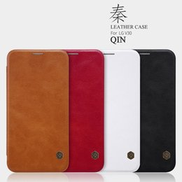"Wholesale Nillkin Case For Lg - LG V30 Case 6.0"" Nillkin Qin Series Cell Phone Leather Cases Luxury Wallet Credit Card Business Style for LG V30 Flip Case"