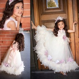 Wholesale Dresses Feathers For Kids - Lovely Baby Pink A-line Feathers Flowers Flower Girl Dresses For Weddings Long Kids Formal Evening Prom Gowns Vestidos De Comunion Sash 2017