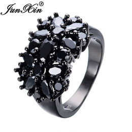 Wholesale Unique Wedding Ring Set Gold - JUNXIN Elegant Black Gold Filled CZ Ring Unique Design Vintage Party Wedding Zircon Rings For Women Gifts Fashion Jewelry