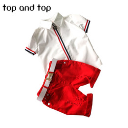 Wholesale Kids Cartoon Shirts - 2017 new kids clothing set baby boy cotton t shirt short pants children set for summer boy cartoon clothes fits 2 colors 2-6T