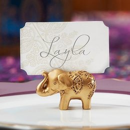 Wholesale Wedding Favors Elephants - Golden Gold Lucky Elephant Place Card Holder Holders Name Number Table Place Wedding Favor Gift Unique Party Favors LLFA