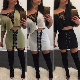Wholesale Two Piece Dress Europe - Europe fashion sexy new women's two piece dress sets plus size summer spring Deep v-neck lace short sleeve t shirt bodycon skirt suit