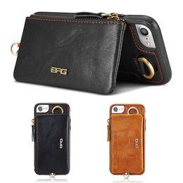 Wholesale Phone Money Wallet Case - For iPhone 6 Plus   6s Plus Leather Wallet Case Multifunction Detachable Phone Cover Cases Credit Card Slot Pocket Money Pouch