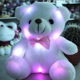 Wholesale Large Cute Teddy Bears - Wholesale- 20cm Hot Cute New Large Luminous Teddy Bear Doll Bear Hug Colorful Flash Light,Led Plush toy