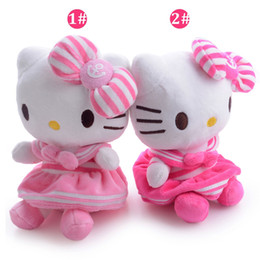 2019 juguetes de peluche de pie Al por mayor-2 Estilos navales Hello Kitty Plush Bowknot Dress Kitty Plush Unisex Muñeca Toy para regalos de Navidad 8''para regalos de cumpleaños #LNF
