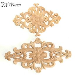 Wholesale Furniture Carvings - Wholesale- Vintage Flower Pattern Wood Carved Unpainted Wood Oak Carved Round Onlay Applique Plaques Furniture Home Decoration Two Size
