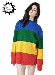 Wholesale Rainbow Stripe Sweater - Wholesale-2016 autumn harajuku punk rock vintage unif same paragraph Crayola Sweater rainbow stripe oversized sweater gradient pullovers