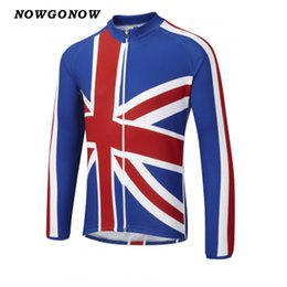 Wholesale Gb Cycling Jersey - Men 2017 cycling jersey bike wear clothing United Kingdom flag uk Great Britain GB summer long sleeve blue white mtb road NOWGONOW
