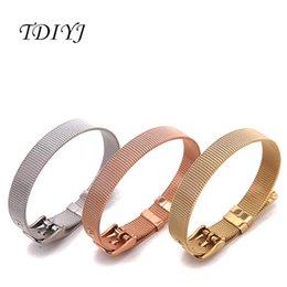 Wholesale Wholesale Rose Gold Mesh Bracelets - TDIYJ KEEP Keys 21CM Stainless Steel Personalized Mesh Keeper Charms Bracelet Silver,Gold,Rose Gold Single Band 12Pcs lot