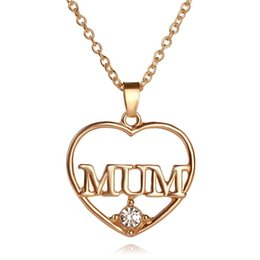 Wholesale Mum Necklaces - Mother's Day Gift Love MUM Heart Pendant 18K Real Gold Plated Rhinestone Necklaces & Pendants Jewelry For Women